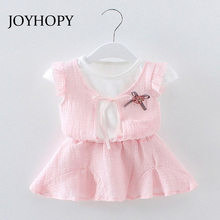 Baby Girl Dress 0-2Y Newborn Baby Summer Cotton Dress 2PCS (Shirts+Dress)Infant Baby Birthday Dress Baby Clothes(China)