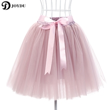 JOYDU Mesh Pleated 7 Layers Dance Tulle Skirt American Apparel Tutu Skirts Womens Petticoat Elastic Belt 2017 faldas saia jupe