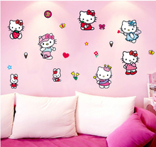 Classic Hello Kitty Cat Wall Stickers Art For Home Decoration Pink Cat Sticker for Kids Rooms Wall Pictures Everywhere OK_13(China)