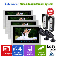 Homefong  4V2V2 Video Doorphone Intercom System Wired Intercom Doorbell Waterproof  Door Camera  with CCTV Security System