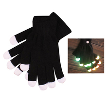 Practical 1 Pair LED Flashing Gloves Finger Light Gloves with Colorful Rave Christmas Gift Party Supplies