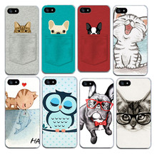 Fashion Cute Owl Cat Soft TPU Slim Covers for IPhone 6 6s 5 5s SE 7 4 4s Funny Dog with Glasses Silicone Thin Phone Case Shell