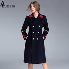High Street Coat Outerwear 2017 Winter Women Elegant Top Shop Brief Patch Designs Turn Down Pocket Coat Navy Over Long Coat(China)