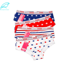 [4olours Mixed] Top Brand 100% Cotton Women Briefs Girl Panties Stars Stripe Slimming Lady Sex Couple Underwears Wholesale 601(China)