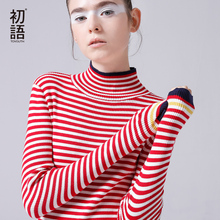 Toyouth Turtleneck Sweaters Women Slim Striped Pullover Hit Color Long Sleeve Sweater Casual Long Sleeve Pull Femme 2018 Spring(China)