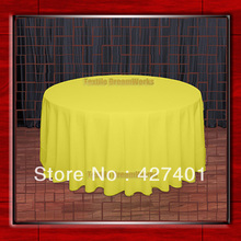 "Hot Sale  132"" R Neon Yellow Round Table Cloth Polyester Plain Table Cover for Wedding Events &Party Decoration(Supplier)"