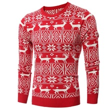Sweater men high street wear oversize hip hop thick high quality new design ugly christmas sweater pullover wool down