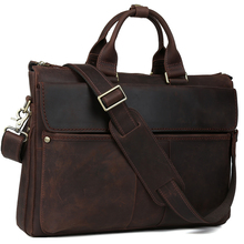 TIDING Genuine leather handbag vintage fashion briefcase for men dark brown laptop bag limited edition 1096
