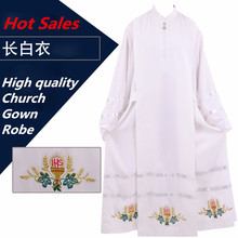 Vatican Cathedral Catholic Robe White Church Clergy Vestments Father Priest Chasuble Clerical Catholic Alb robe Church Worship(China)