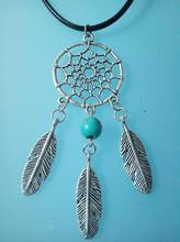 NATIVE AMERICAN SILVER TONE DREAMCATCHER Feather NECKLACE Tassel CHARM PENDANT BEAD