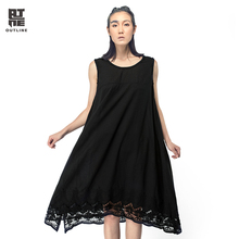 Outline Women Summer Sleeveless Dress Casual O-neck Black White A-line Long Dress Hollow Out Lace Irregular Beach Dress L142Y052