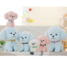 Cheap Plush Toy Animal Dog Doll with Collar Bell Children Birthday Christmas Gifts Children Room Decoration White Pink Blue(China)