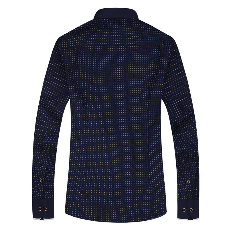 19 Men Fashion Casual Long Sleeved Printed shirt Slim Fit Male Social Business Dress Shirt Brand Men Clothing Soft Comfortable 12