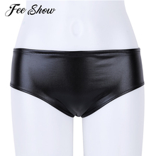 Buy Lingerie Crotchless Briefs Underwear Panties Women Shiny Leather Thong Panties Sexy Lingerie Plus Size Women Stretchy Underwear
