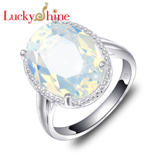 New Arrive Luckyshine Unique Shiny Fire Oval Fire Moonstone Silver Plated Wedding Rings Russia USA Australia Rings