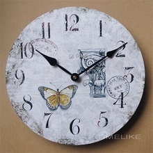 12 Inch Vintage Retro Clock MDF Wooden Wall Clock  Living Room Decoration Quartz Wall Mounted Clock