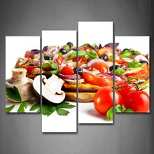 Pizza With Colorful Vegetables And Mushroom Wall Art Painting The Picture Print On Canvas Food Pictures For Home Decor Decoratio