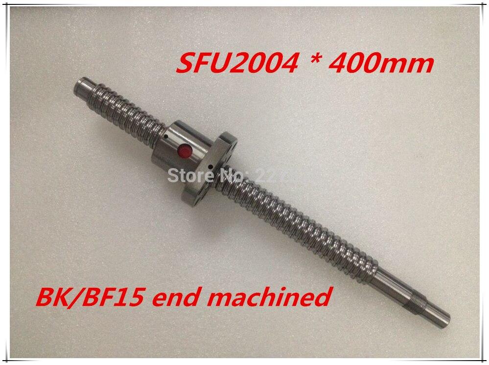 SFU2004 400mm Ball Screw Set : 1 pc ball screw RM2004 400mm+1pc SFU2004 ball nut cnc part standard end machined for BK/BF15<br>