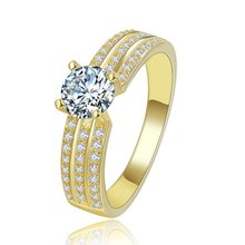 luxury 24K Gold color Jewelry wedding Ring Set for women AAA cubic zirconia vintage bague engagement bijoux for lady MYR138