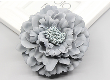 Korea trendy Fabric Blooming peony Flower Corsage Brooch woman Hair Decorations & Brooch wedding party Hair Clip Bridal Wedding(China)