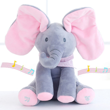 30cm Peek a boo Electric Elephant Plush Soft Toy Animal Stuffed Doll Play Hide And Seek Cute Play Music Elephant Educational Toy