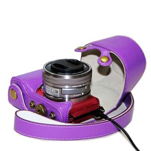 Dengpin Detachable PU Leather Camera Case Bag Cover Charge Style for Sony A5000 NEX-3N 16-50mm Lens with Shoulder Strap Purple