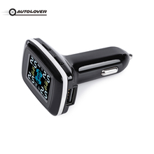 Car TPMS Tire Pressure Monitoring System Wireless LCD Display with Four External Sensors Cigarette Lighter Plug