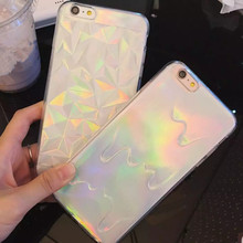 New Hot 3D Diamond Bling Laser Melting Rainbow Color Phone Case For iPhone 6 6s 6Plus Iridescent Triangle Pastel Back cover capa