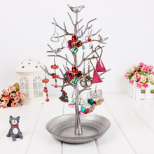 Retro Silver Earring Ring Jewelry Shelf Pendant Tree Stand Display Organizer Holder Rack Jewelry Holder Necklace Display Frame
