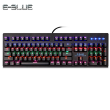 E - 3LUE K757 USB Wired Gaming Mechanical Keyboard with Colorful LED Backlight 104 Keys Computer Keyboard Gamer PK K753(China)