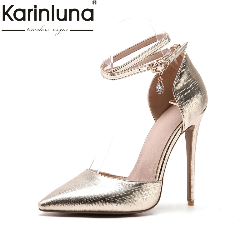 KarinLuna 2018 new large size 33-48 buckle strap women shoes pointed toe thin high Heels shoes woman pink Party wedding Pump<br>