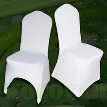 100 PCS Stretch Elastic Universal White Spandex Wedding Chair Covers for Weddings Party Banquet Hotel Polyester Fabric(China)