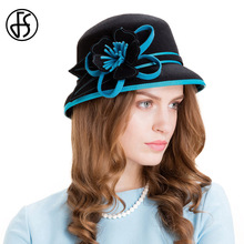 FS Winter 100% Wool Vintage Fedora For Women Red Sky Blue Flowers Ladies Elegant Dome Felt Bowler Cloche Hat(China)