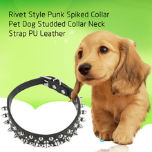 Punk Rivet Style Spiked Dog Collar Bling Pet Studded Collars Bullet Nail Neck Strap PU Leather Necklace for Big Small Dogs 5Size
