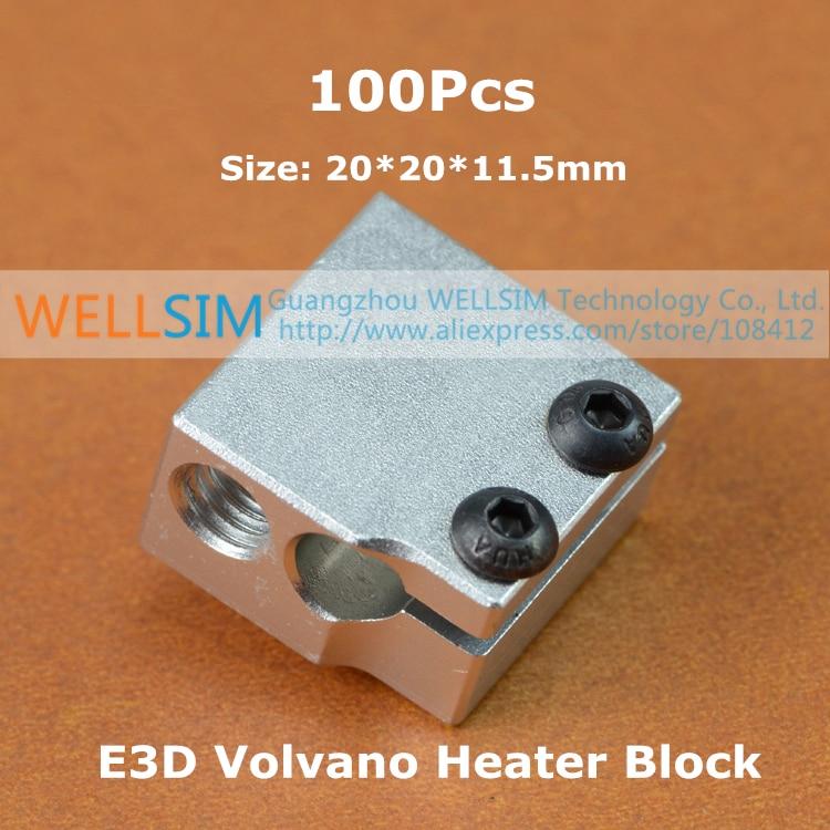 100Pcs Aluminium Heater Block For E3D Volvano Print Head Hot End Heating Block 20*20*11.5 20x20x11.5 mm For 3D Printer<br><br>Aliexpress