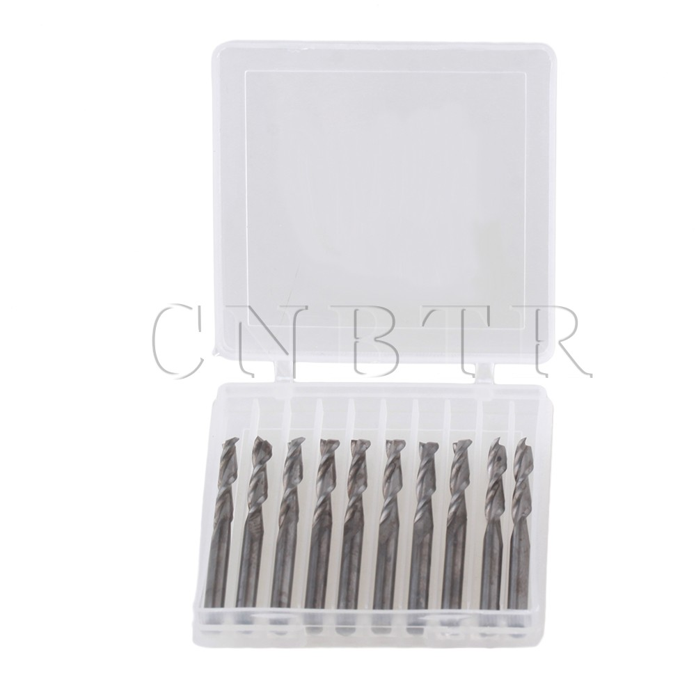 CNBTR 10x Double Flute Spiral Cutter 3.175x17mm CNC Router Bits Wood Acrylic Drill<br><br>Aliexpress