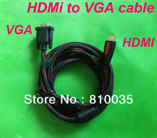 Premium 5ft 1.5m hdmi to vga cable with nylon mesh&dual ferrite cores gold-plated hdmi&vga ends