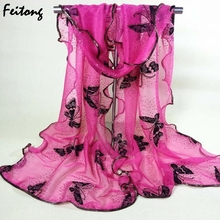 2016 Fashion Scarf  Women Vintage Colorful Lace Gauze Butterfly Veil Scarf Shawl Wrap  Hot Sale