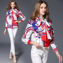 High Quality Women Floral Print Polo Blouse Cardigan Tops Blouse Female 2017 Summer OL Women's CHIFFON Silk Blouse Shirts JA2499