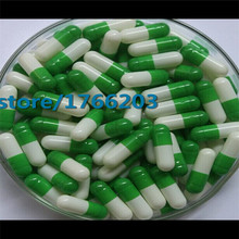 Size:0 5000pcs Green and White Color Separated Gelatin Capsule, gel Capsule, Empty Capsule--- Cap and Body Separated