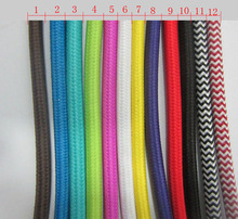 5 m vintage cable 2*0.75 textile fabric electrical wire DIY pendant light electrical cable woven braided cable power cord(China)
