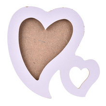 1pc Lovely Wooden Family Photo Picture Frame Double Heart Shaped Photo Frame With Frame Bracket DIY Home Decor Art(China)