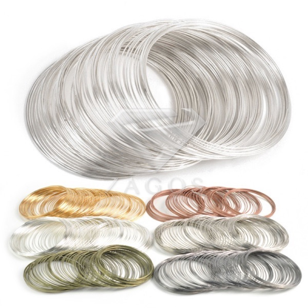 100 Loops 0.6mm Memory Beading Steel Wire For DIY Jewelry Findings Bangle Bracelet Making title=