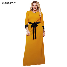 Buy COCOEPPS Fashion Women Long Dress 5XL 6XL Plus Size Dresses Sashes Elegant Big Size Dress Autumn Winter Casual women Clothing for $18.98 in AliExpress store