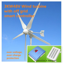 3kw off-grid wind power system with wind turbine 3000W48V + off grid controller + unloader