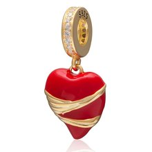 New fashion 925 sterling silver red hart pendants for women fit necklaces & bracelets Charms jewelry(China)