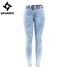 2129 Youaxon New Plus Size Ultra Stretchy Acid Washed Jeans Woman Denim Pants Trousers For Women Pencil Skinny Jeans(China)
