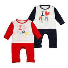 I Love PaPa&MaMa Baby Boy Girl Long Sleeve Cotton Romper Letter Print Clothes Jumpsuits Roupas Infantil Patchwork Baby Clothing