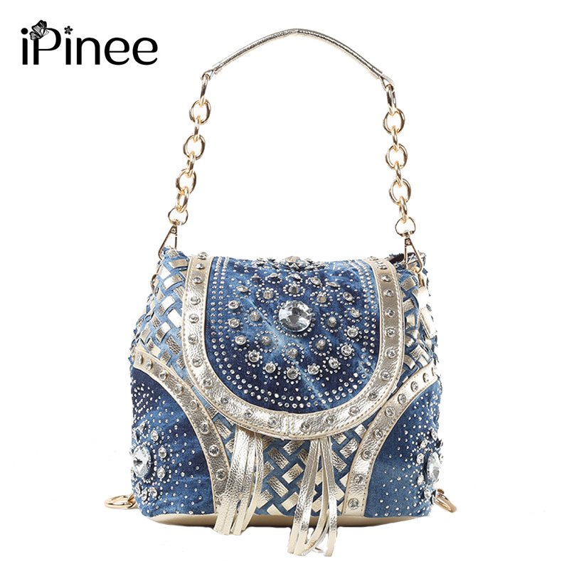 iPinee Gold/Sliver fashion ladies handbag designer weave style tassel women shoulder bags PINEE brand name<br>