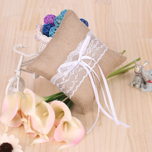 Ring Pillow 6 X 6 inches Vintage Rustic Burlap Lace Wedding Ring Bearer Pillow Wedding Ceremony Decoration Supplies(China)